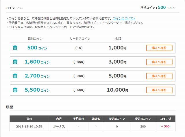 コインの値段表ネイティブキャンプ
