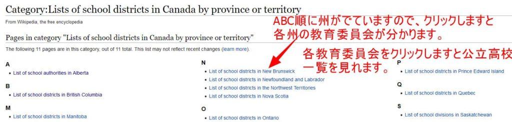 Lists of school districts in Canada by province or territory